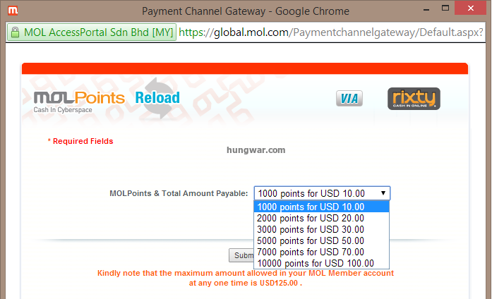 How to add MOL POINT US! Hungwar Online Game Store | Game
